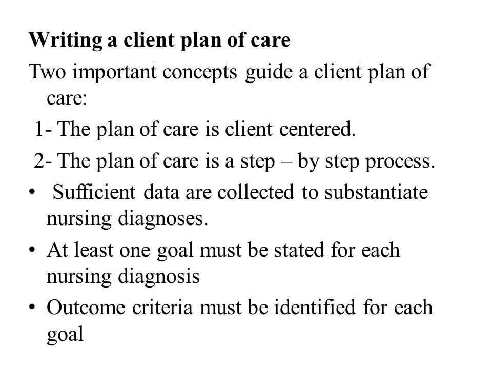 Writing a client plan of care