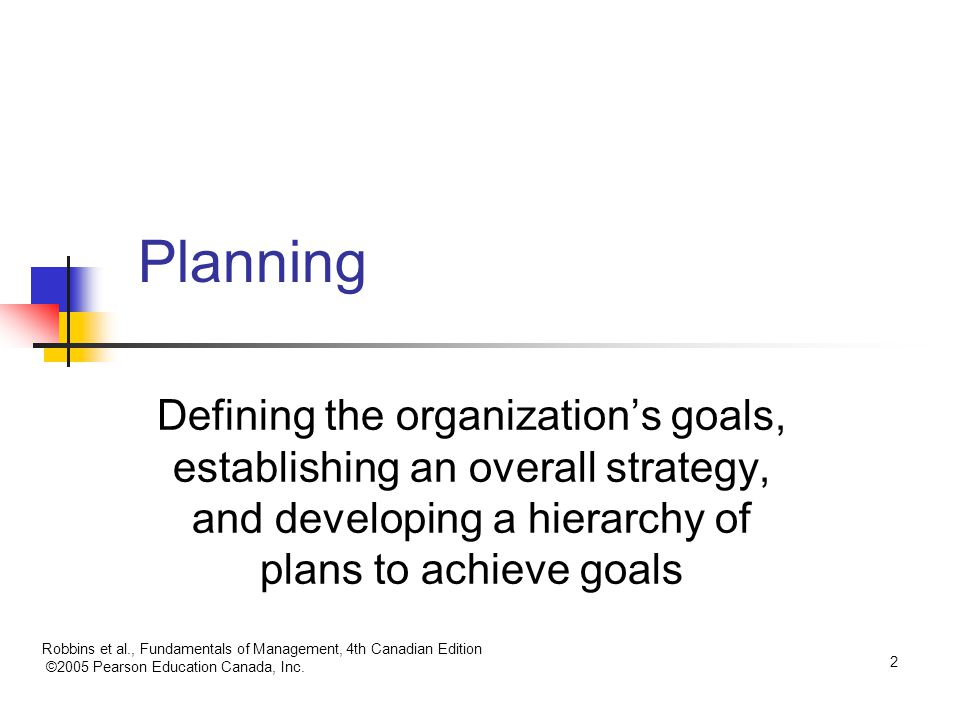 Planning Defining the organization's goals, establishing an overall strategy, and developing a hierarchy of plans to achieve goals.