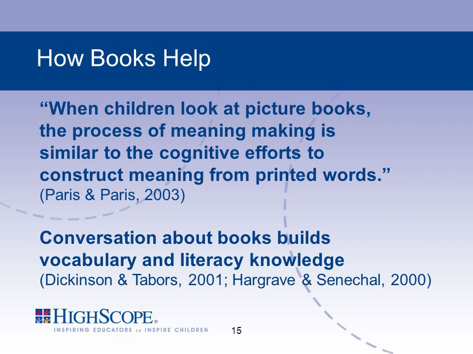 How Books Help When children look at picture books,