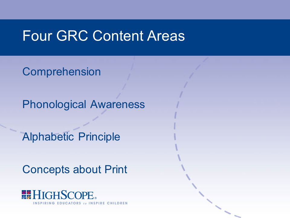 Four GRC Content Areas Comprehension Phonological Awareness Alphabetic Principle Concepts about Print