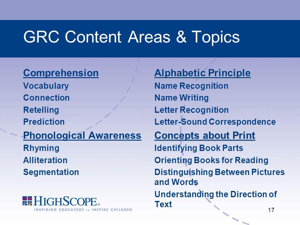 GRC Content Areas & Topics