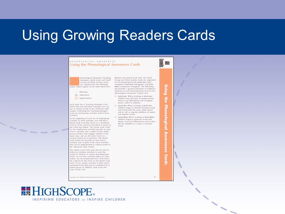 Using Growing Readers Cards