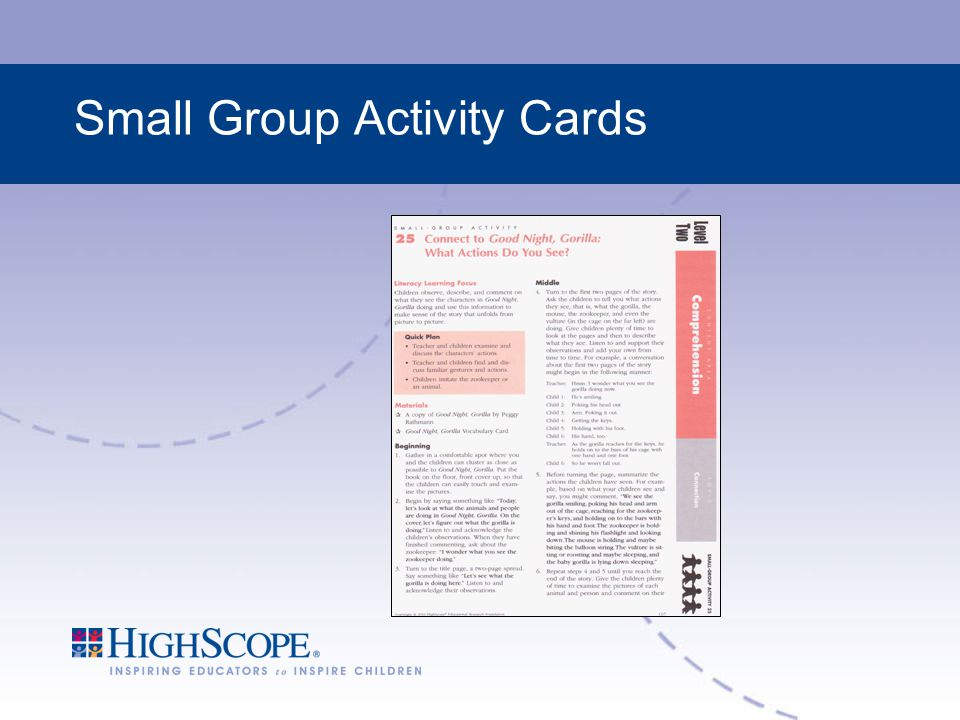 Small Group Activity Cards
