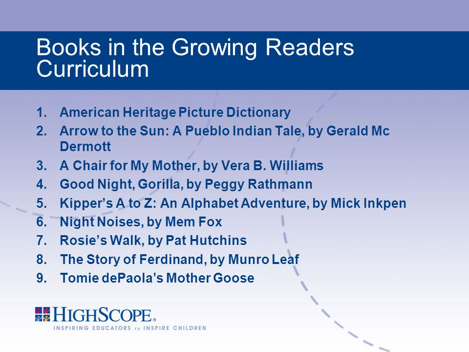 Books in the Growing Readers Curriculum