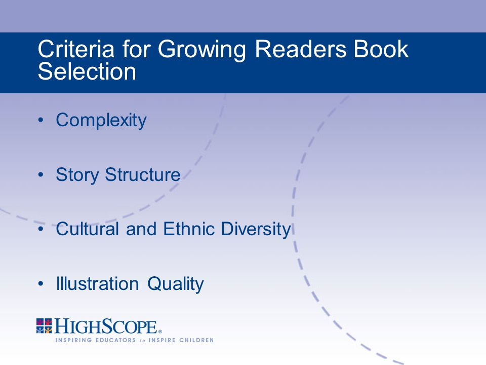 Criteria for Growing Readers Book Selection