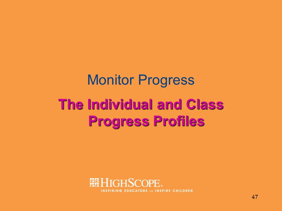 The Individual and Class Progress Profiles