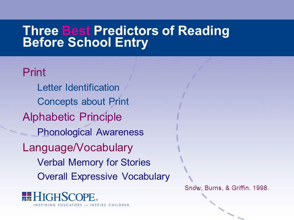 Three Best Predictors of Reading Before School Entry