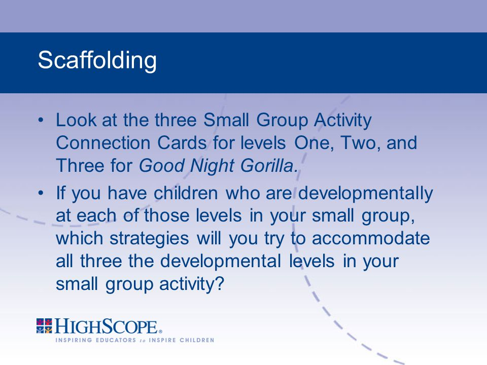 Scaffolding Look at the three Small Group Activity Connection Cards for levels One, Two, and Three for Good Night Gorilla.