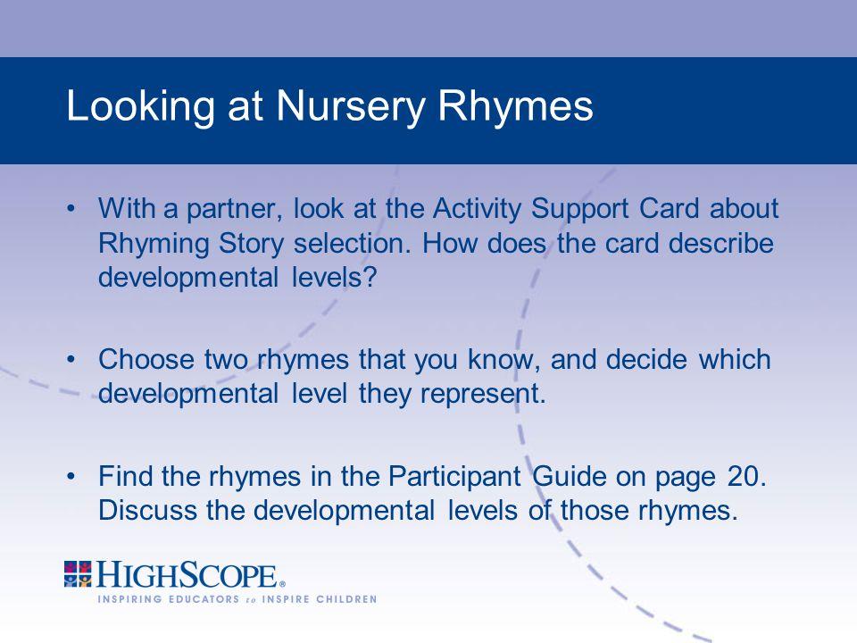 Looking at Nursery Rhymes