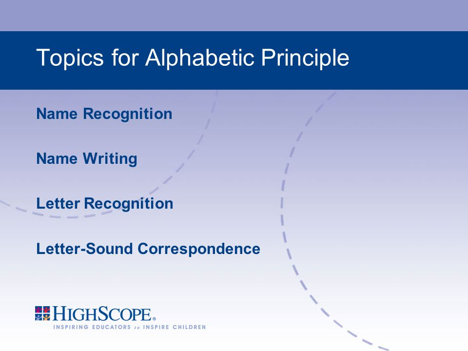 Topics for Alphabetic Principle