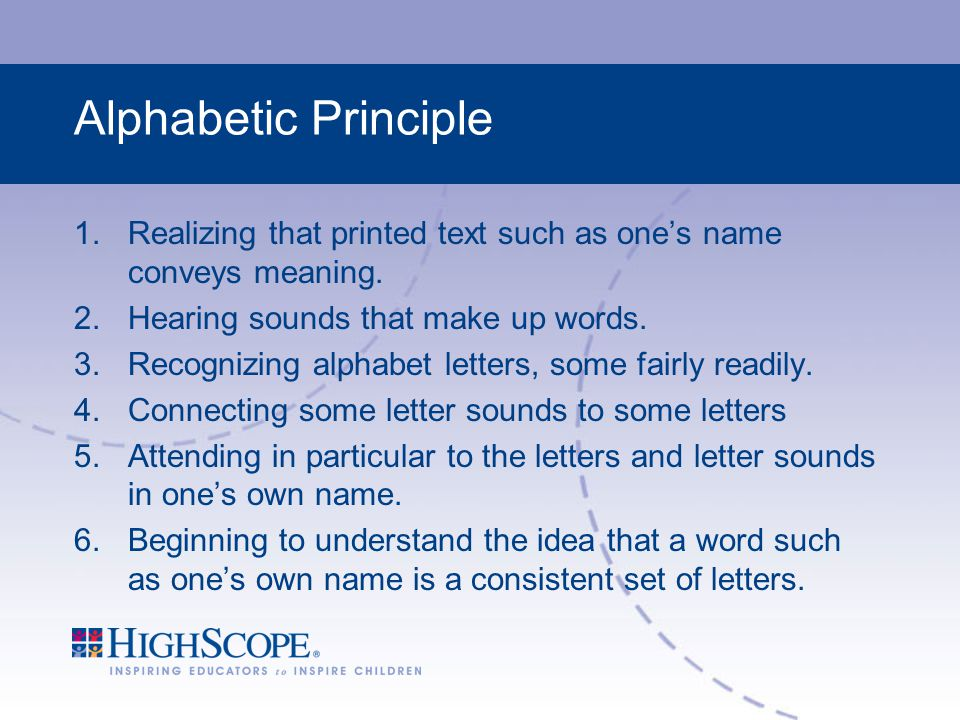 Alphabetic Principle Realizing that printed text such as one's name conveys meaning. Hearing sounds that make up words.