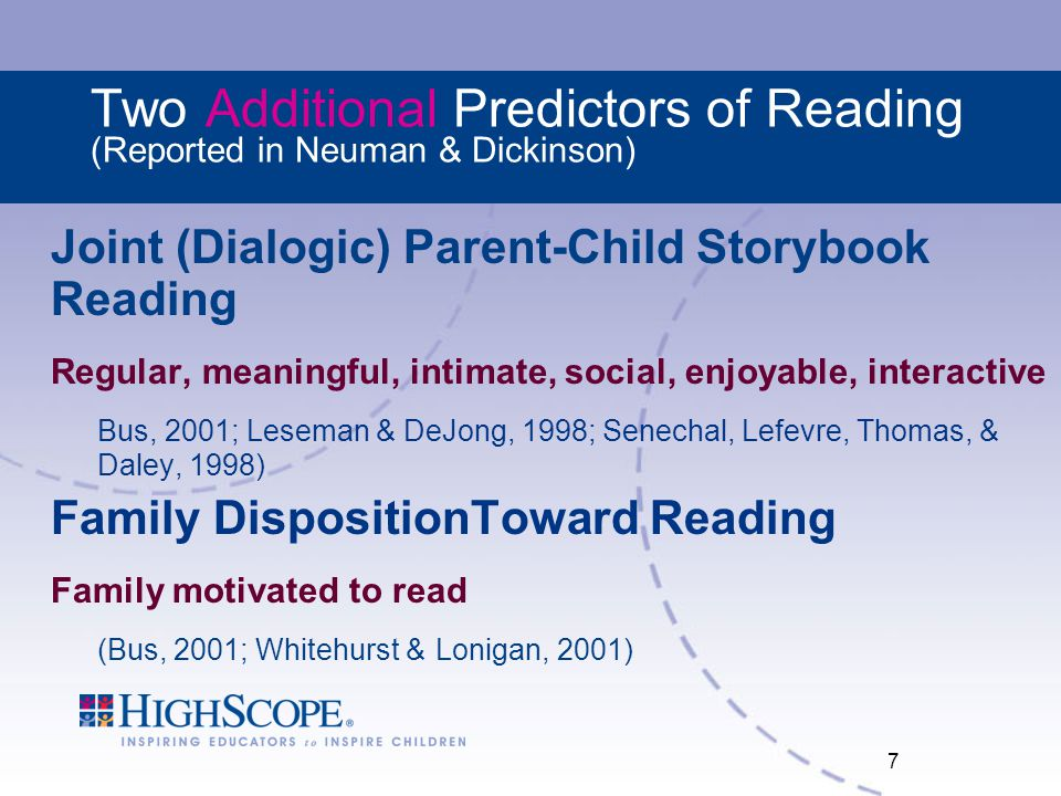 Two Additional Predictors of Reading (Reported in Neuman & Dickinson)