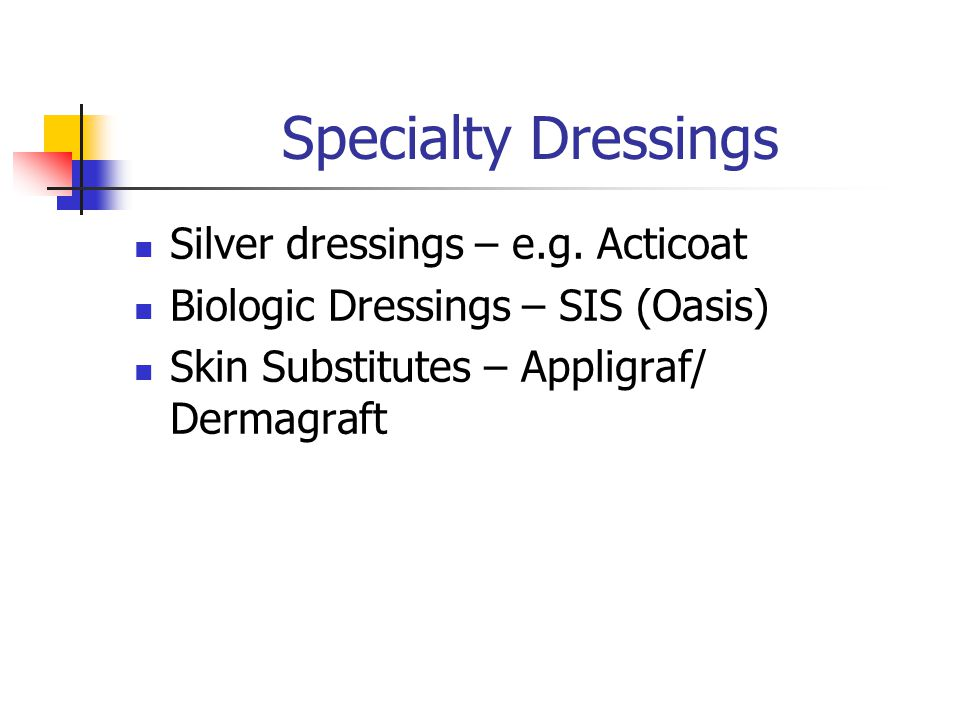 Specialty Dressings Silver dressings – e.g. Acticoat