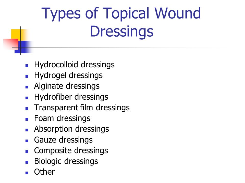 Types of Topical Wound Dressings