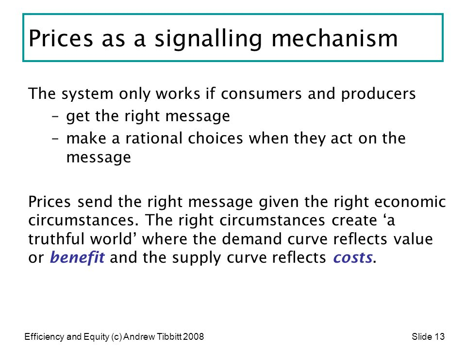 Prices as a signalling mechanism