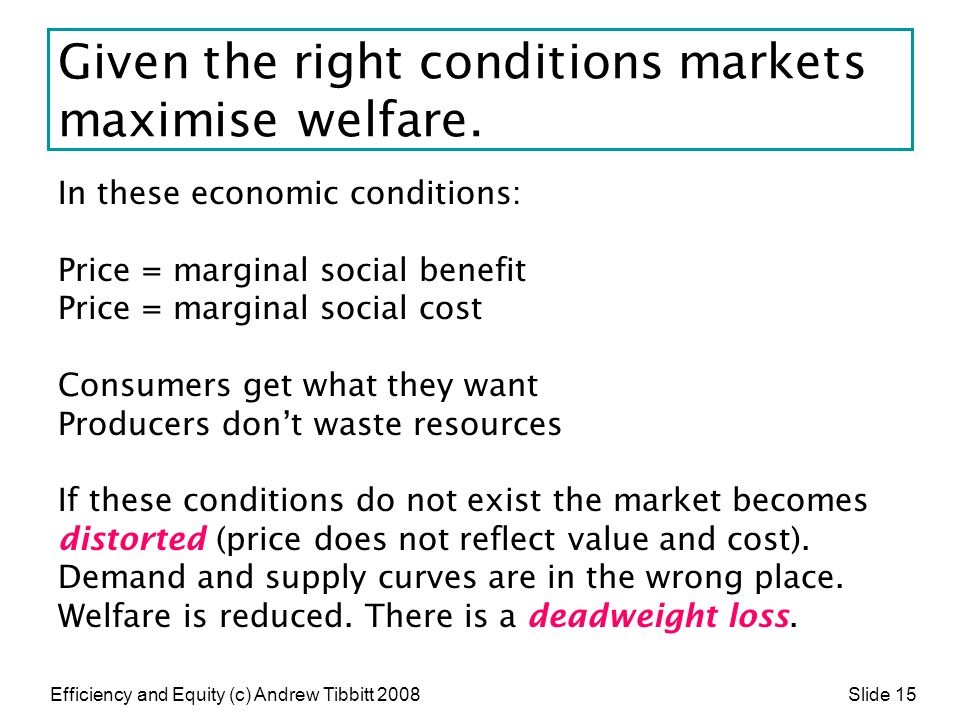 Given the right conditions markets maximise welfare.