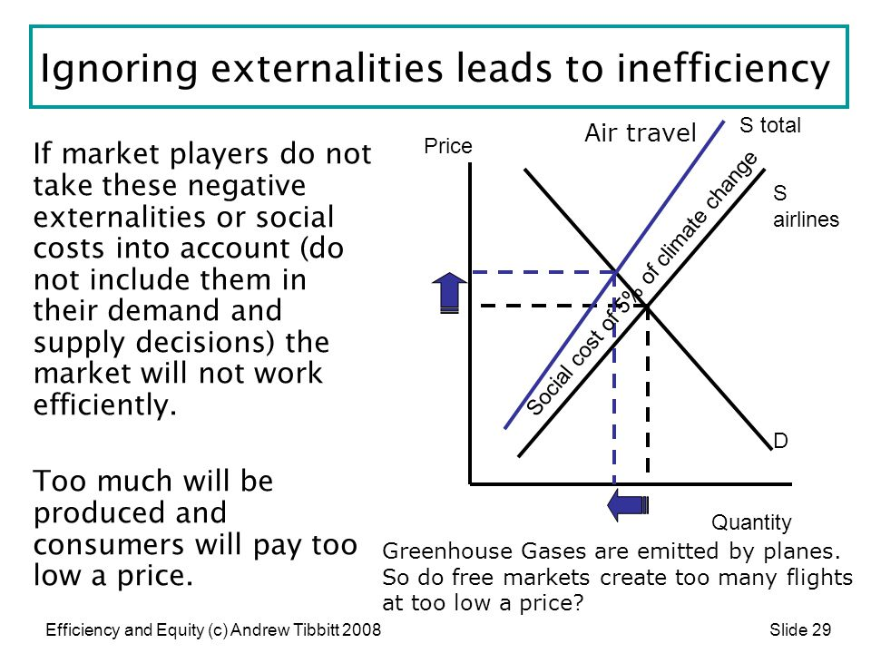 Ignoring externalities leads to inefficiency