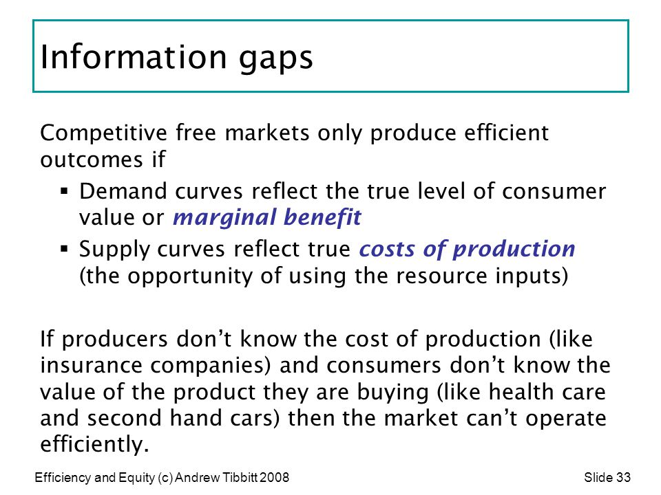Information gaps Competitive free markets only produce efficient outcomes if.