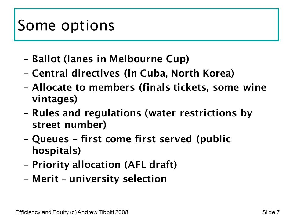 Some options Ballot (lanes in Melbourne Cup)