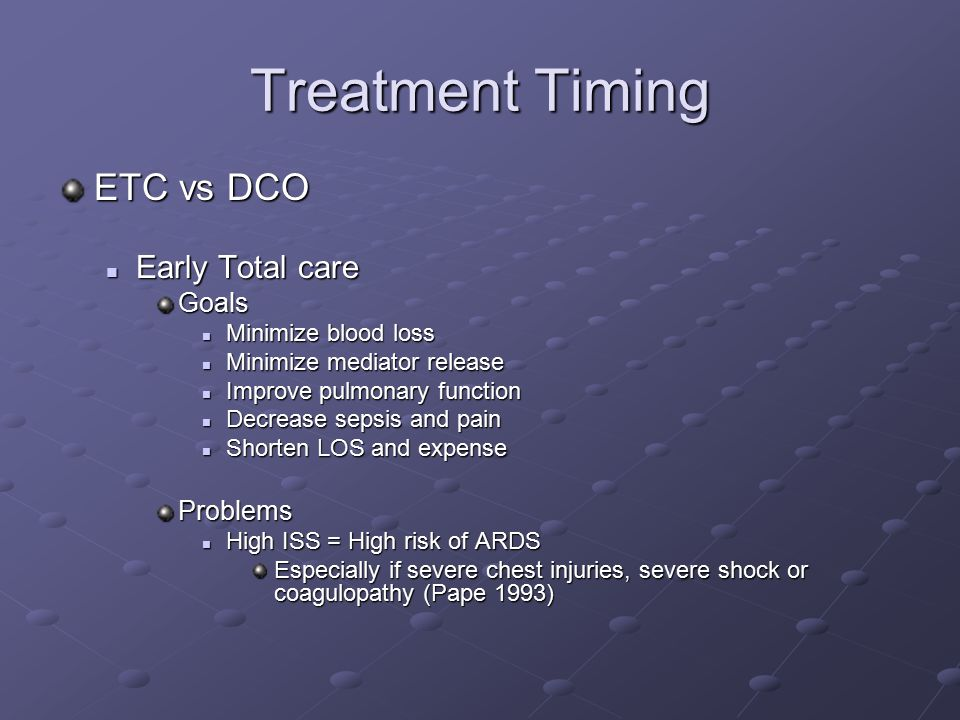 Treatment Timing ETC vs DCO Early Total care Goals Problems