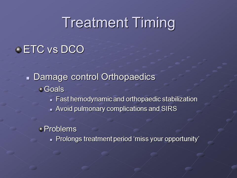 Treatment Timing ETC vs DCO Damage control Orthopaedics Goals Problems