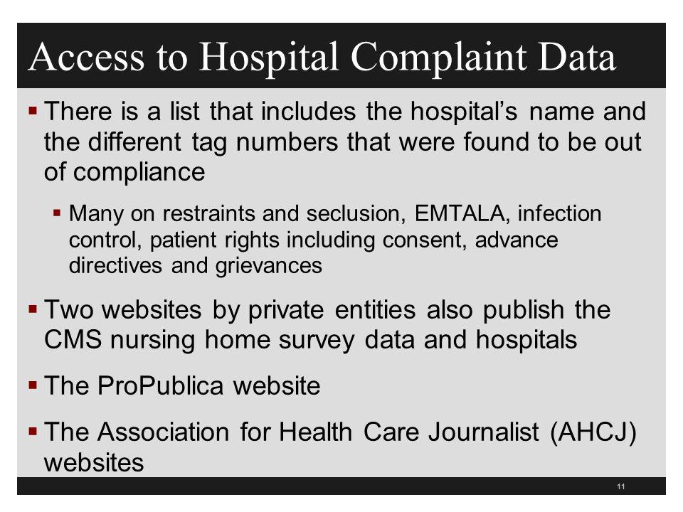 Access to Hospital Complaint Data