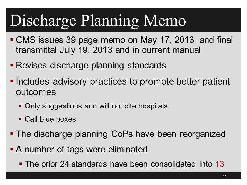 Discharge Planning Memo