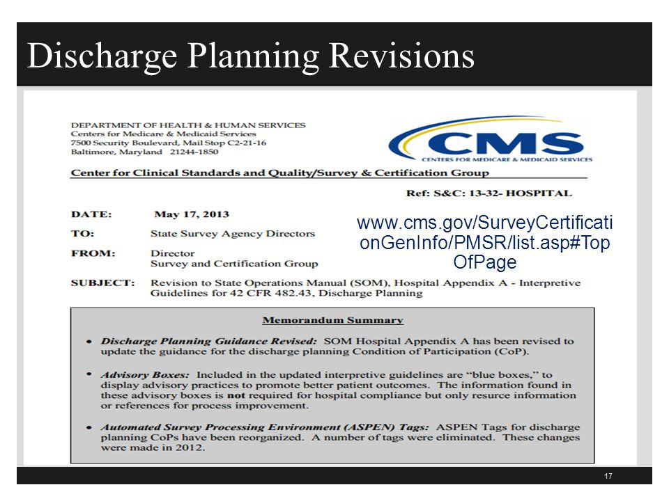 Discharge Planning Revisions