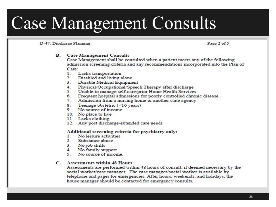 Case Management Consults