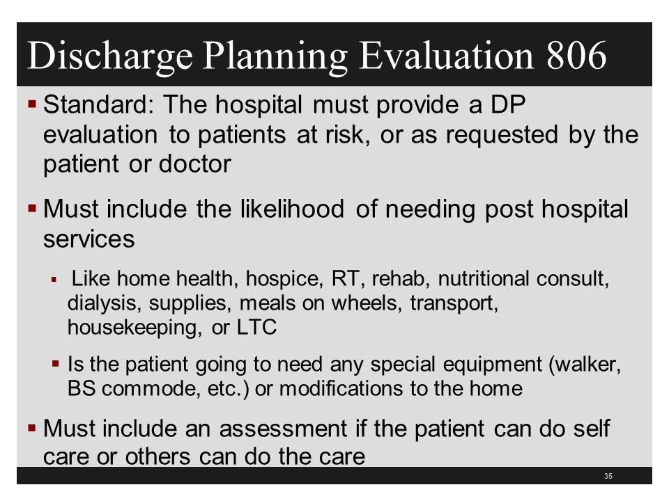 Discharge Planning Evaluation 806