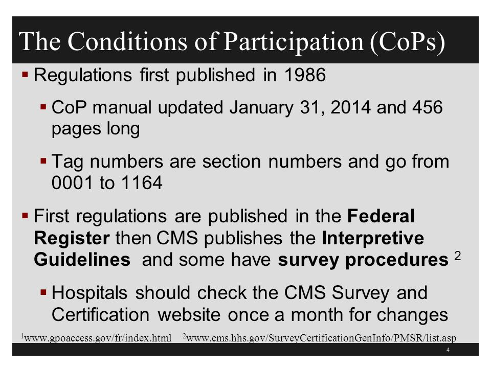 The Conditions of Participation (CoPs)