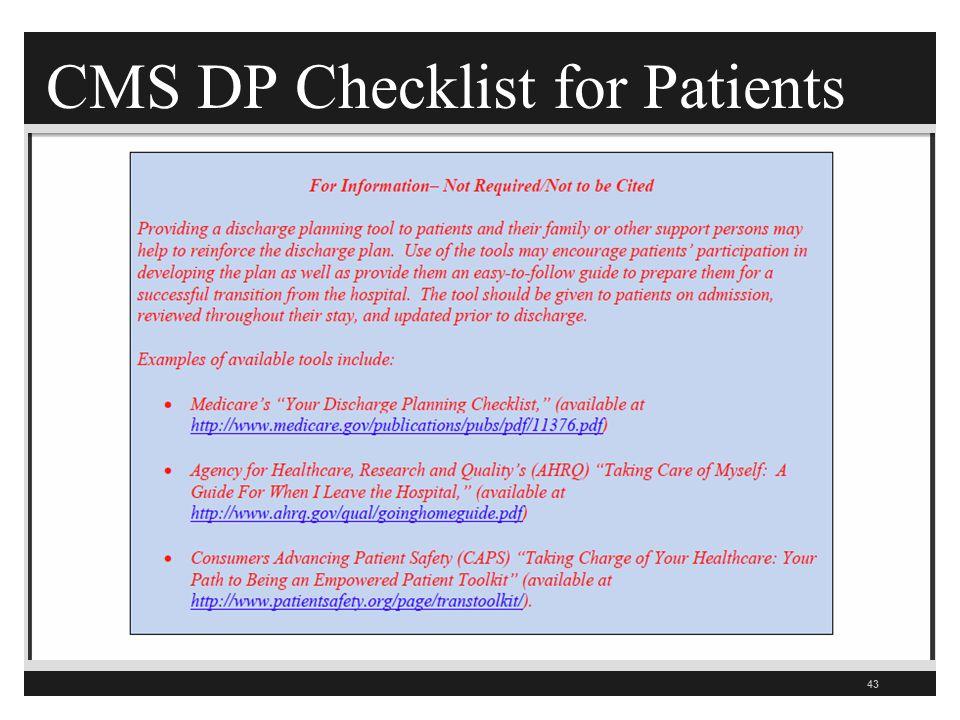 CMS DP Checklist for Patients