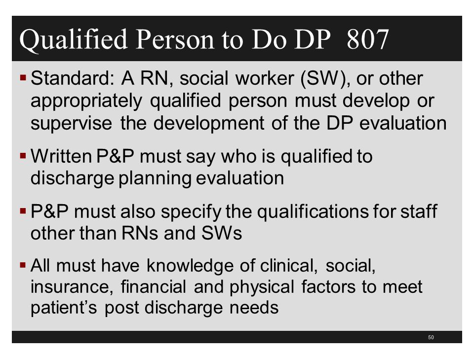 Qualified Person to Do DP 807