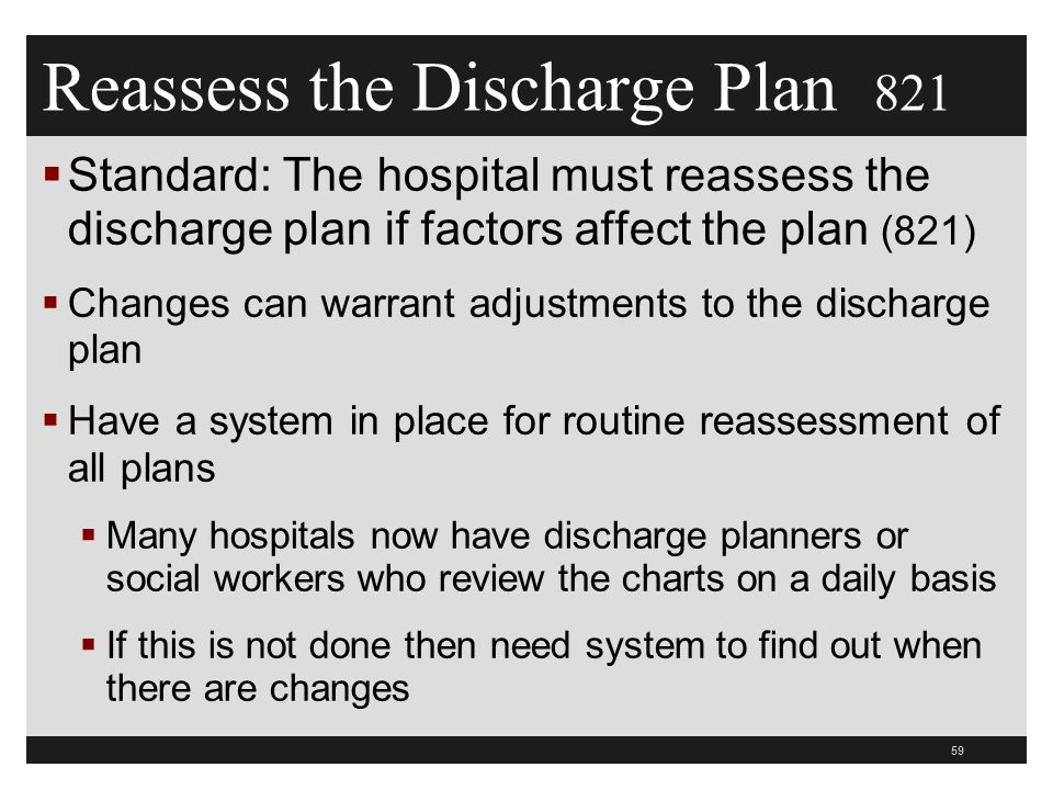 Reassess the Discharge Plan 821