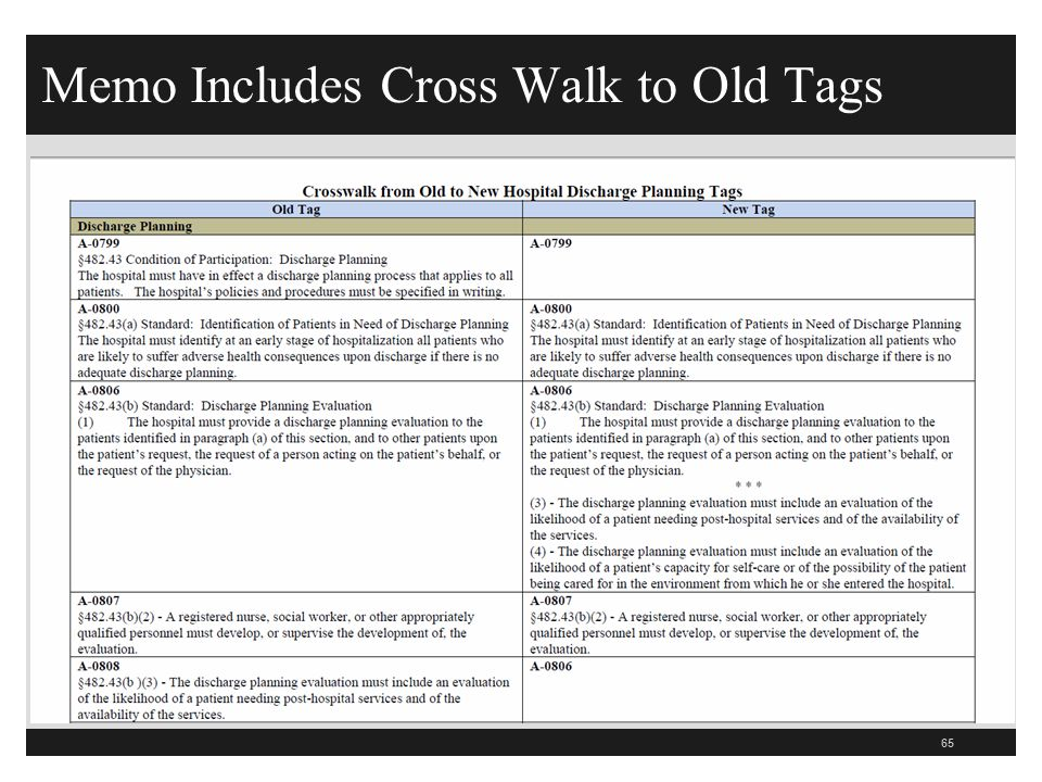 Memo Includes Cross Walk to Old Tags