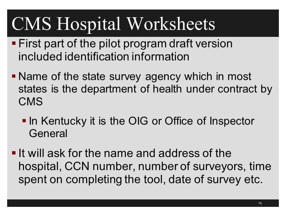 CMS Hospital Worksheets