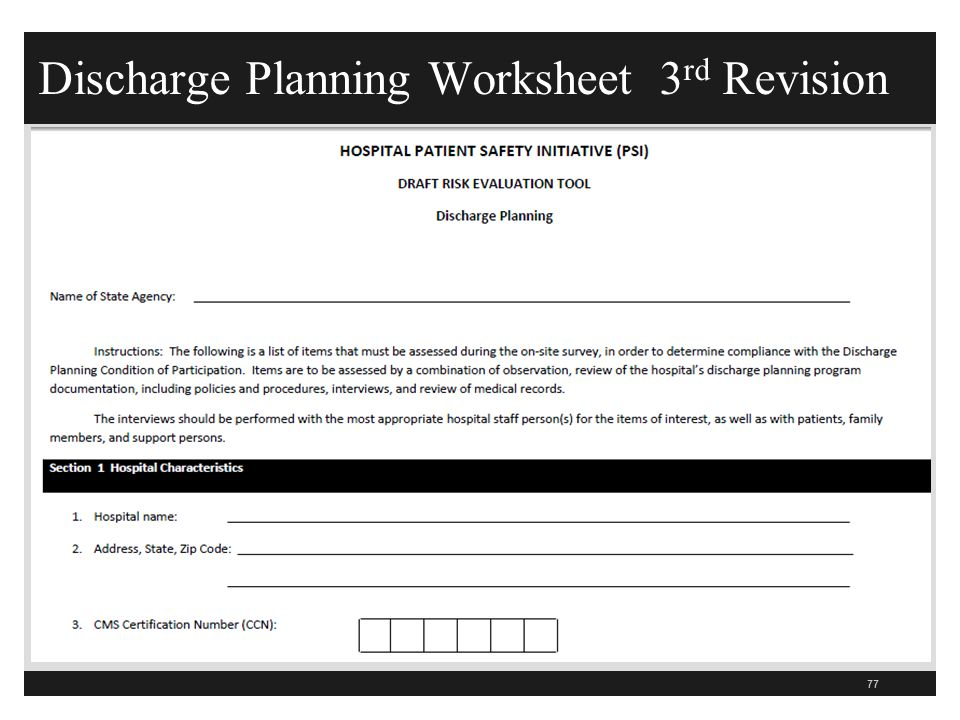 Discharge Planning Worksheet 3rd Revision