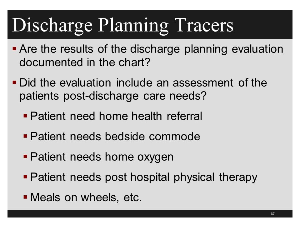 Discharge Planning Tracers