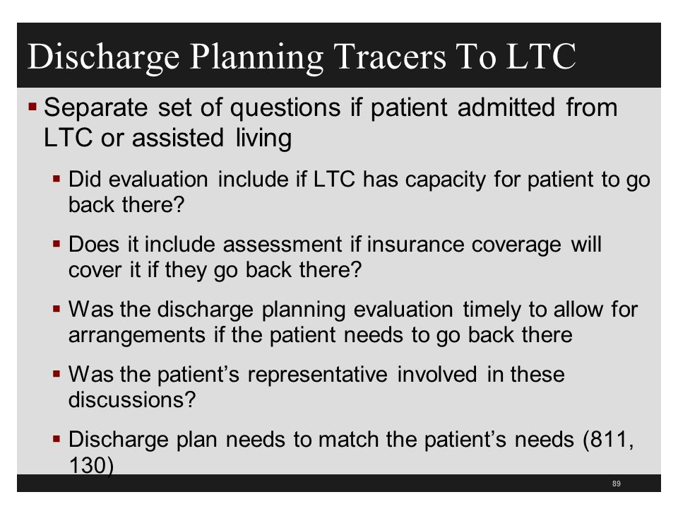 Discharge Planning Tracers To LTC