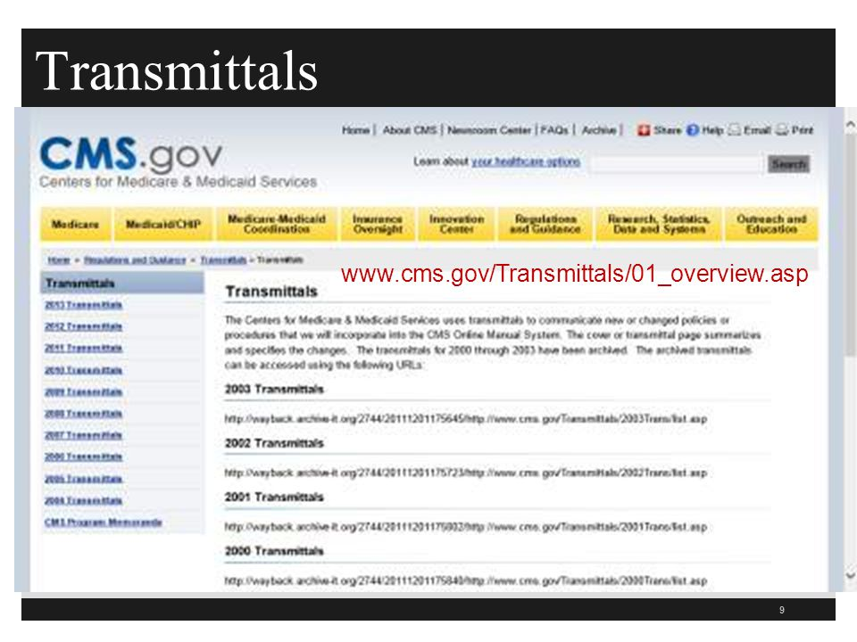 Transmittals www.cms.gov/Transmittals/01_overview.asp