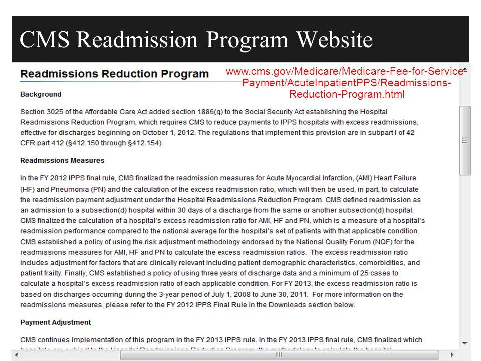 CMS Readmission Program Website