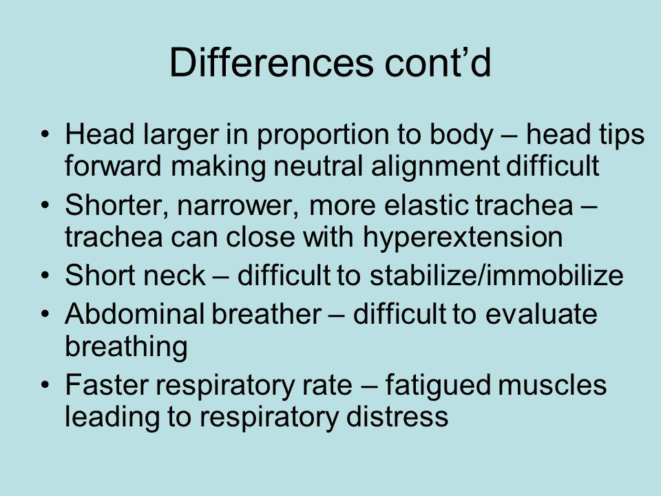 Differences cont'd Head larger in proportion to body – head tips forward making neutral alignment difficult.