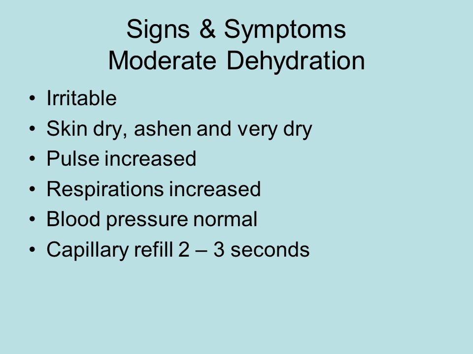 Signs & Symptoms Moderate Dehydration