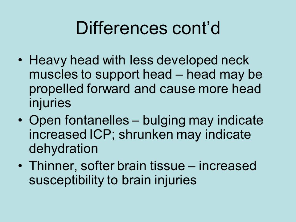 Differences cont'd Heavy head with less developed neck muscles to support head – head may be propelled forward and cause more head injuries.