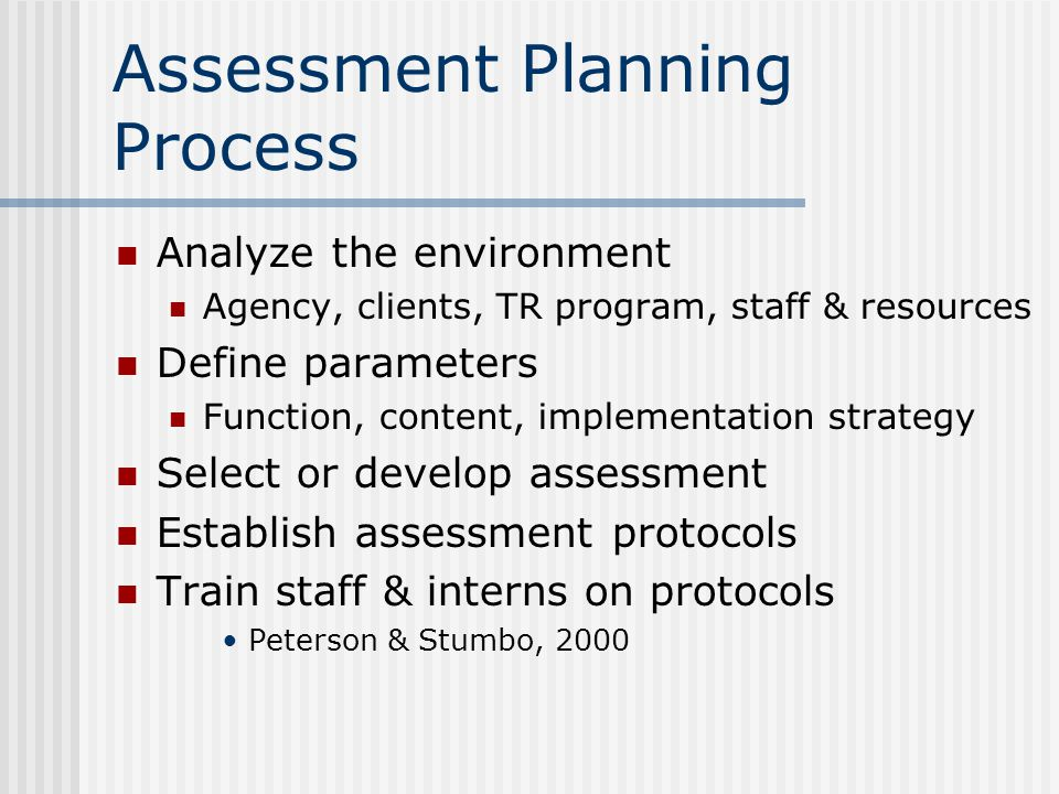 Assessment Planning Process