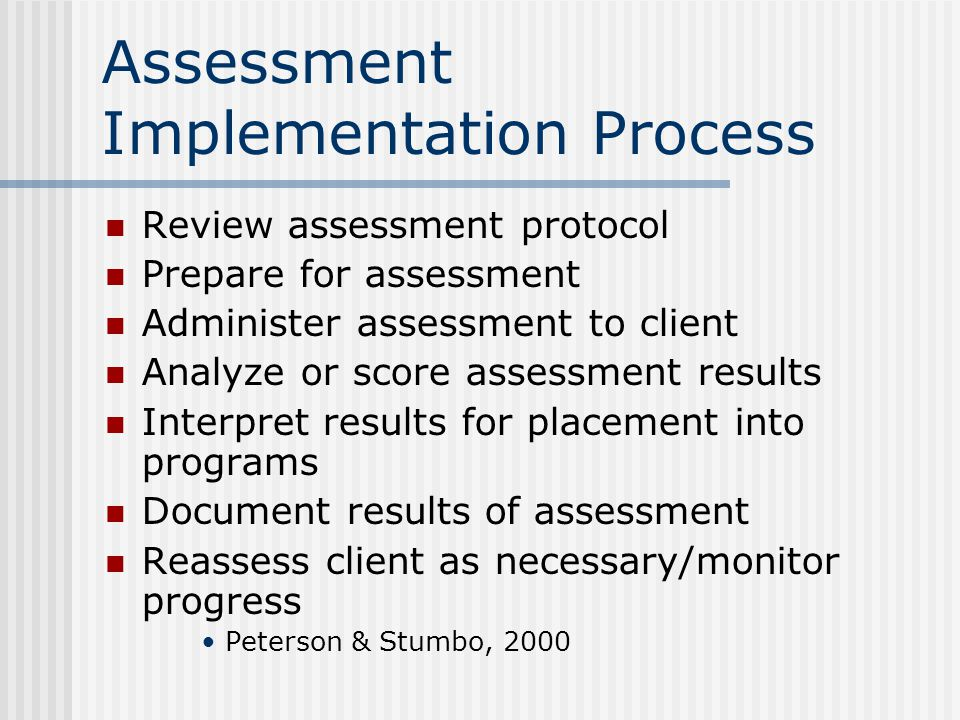 Assessment Implementation Process