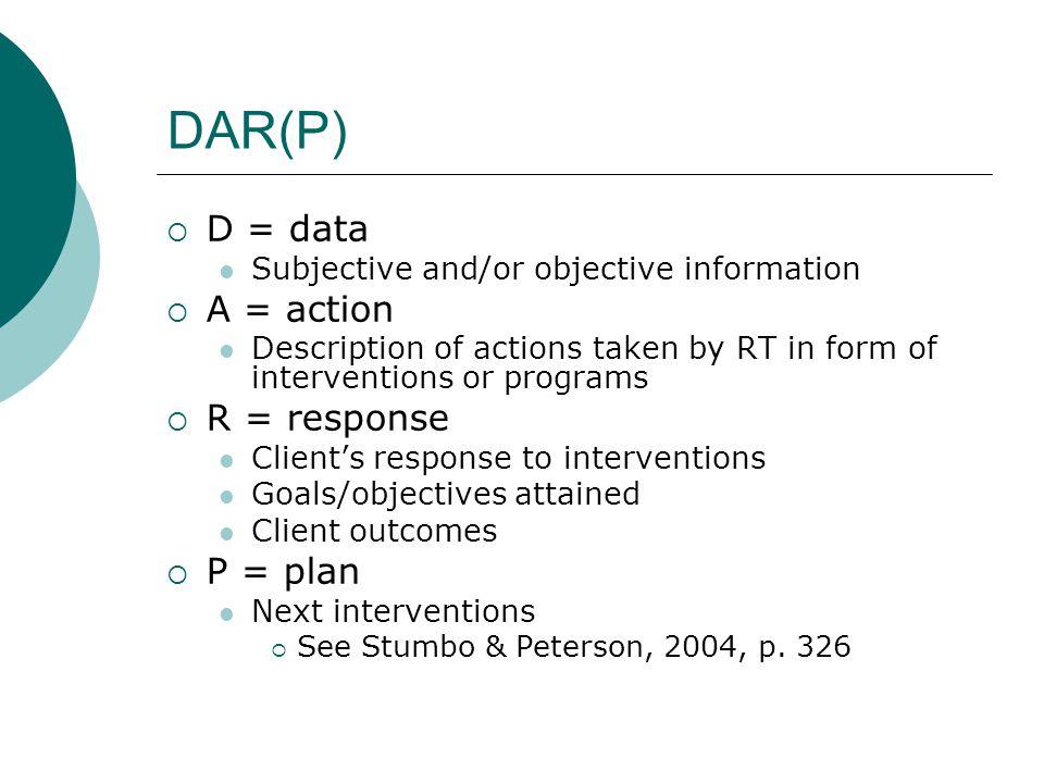 DAR(P) D = data A = action R = response P = plan