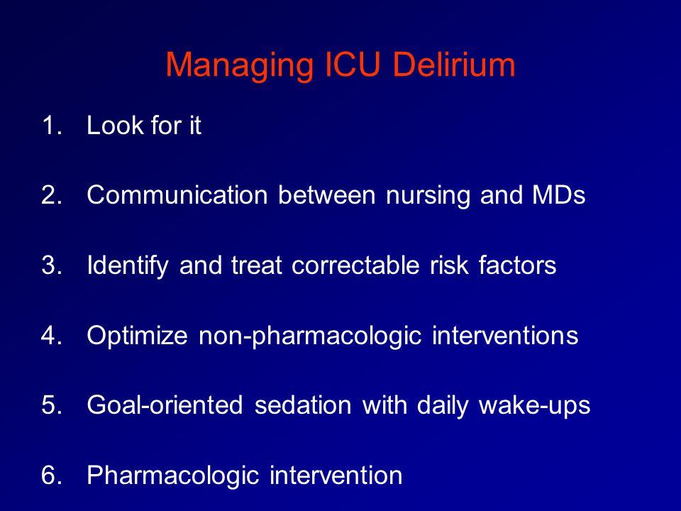 Managing ICU Delirium Look for it
