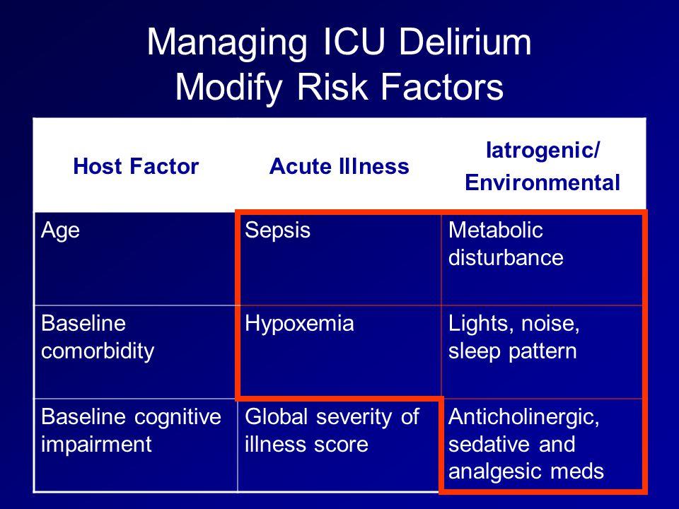 Managing ICU Delirium Modify Risk Factors