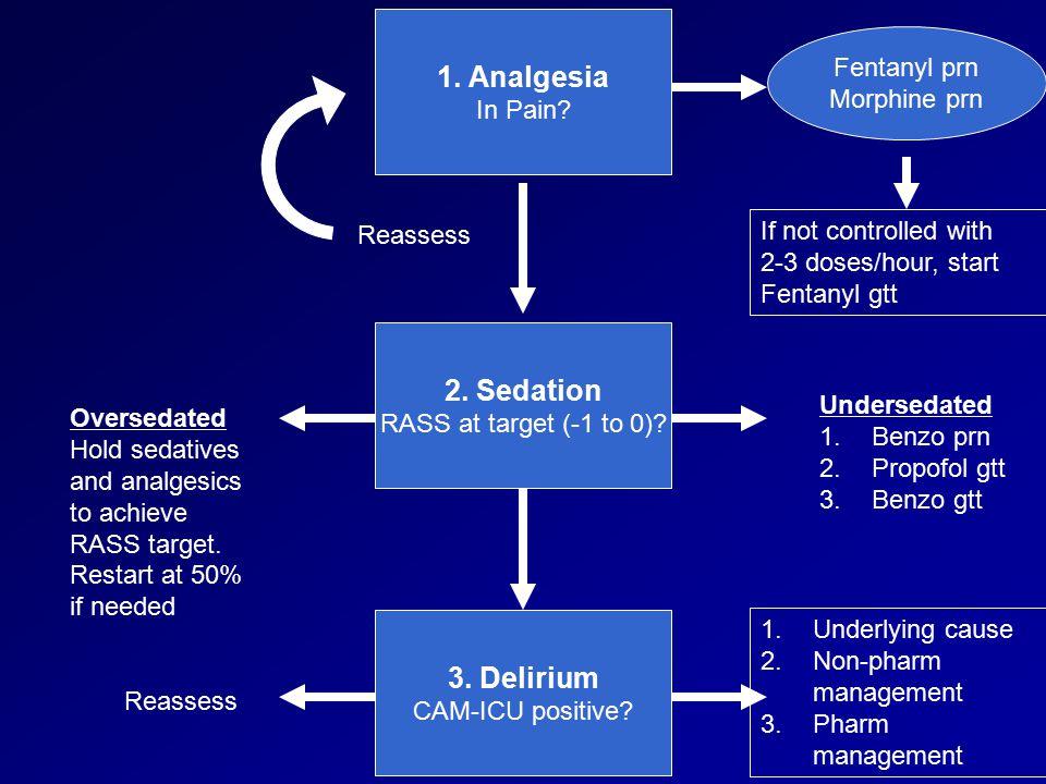 1. Analgesia 2. Sedation 3. Delirium